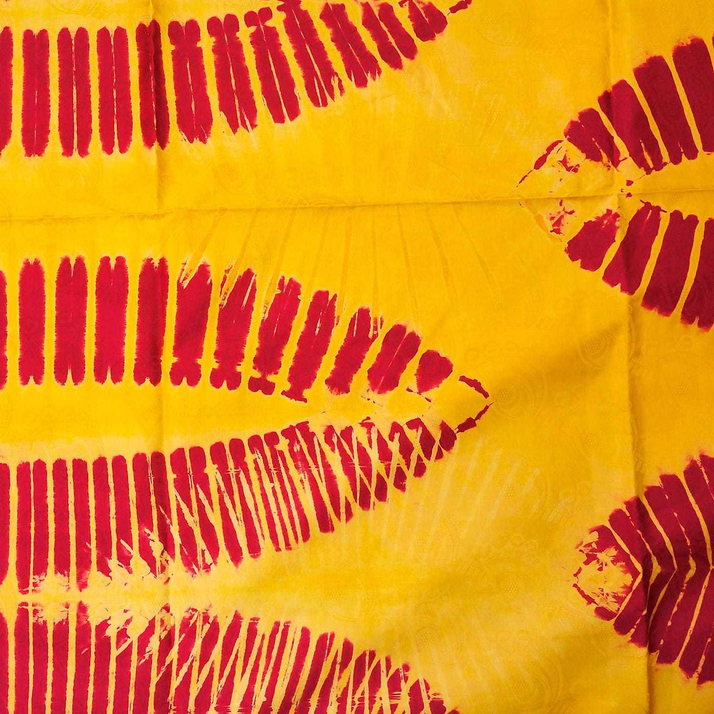 Tissu africain en bazin rose jaune et cr me feuilles de palmier africouleur - Palmier hawaien feuilles jaunes ...