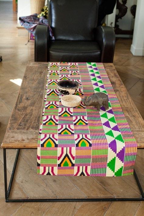 chemin de table wax style kente
