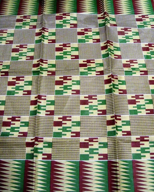tissu africain wax style kente cr me prune et vert africouleur. Black Bedroom Furniture Sets. Home Design Ideas