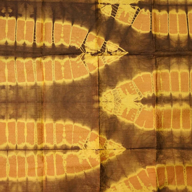 Tissu africain en bazin caramel brun et jaune motif feuille de palmier africouleur - Palmier hawaien feuilles jaunes ...