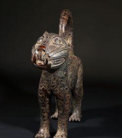 Léopard en bronze mâle de Bénin City au Nigéria