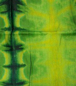 Bazin vert feuille, vert foncé et jaune tige fleur