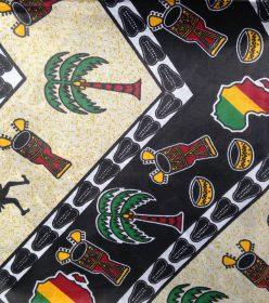Wax noir blanc jaune vert motif les arts Africa