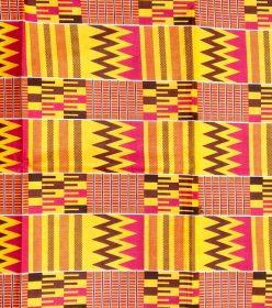 Wax style kenté jaune rose marron