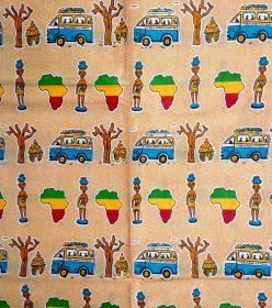 wax les arts jaune turquoise motif taxi brousse