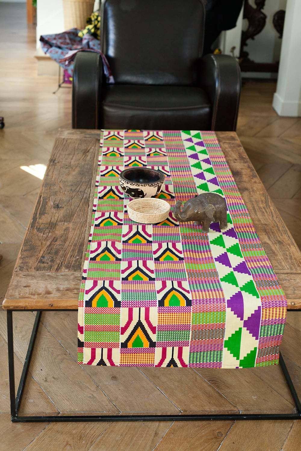 chemin de table tissu africain wax africouleur. Black Bedroom Furniture Sets. Home Design Ideas