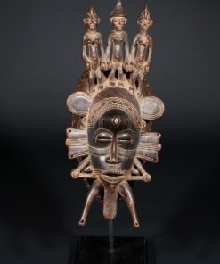 Masque Sénoufo Kpélié avec 3 petits personnages
