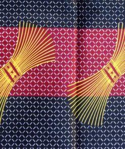 Wax noir rouge blanc motif balai jaune