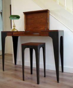Console de bureau en bois de Vene et tabouret
