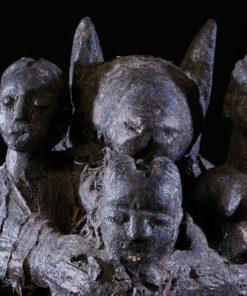 Fétiche vaudou Fon chien et trois personnages