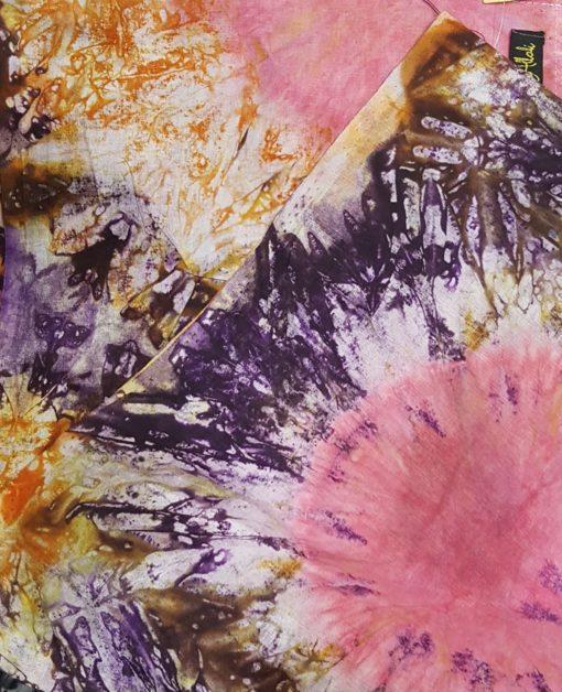 Foulard calicot rose violet orange blanc