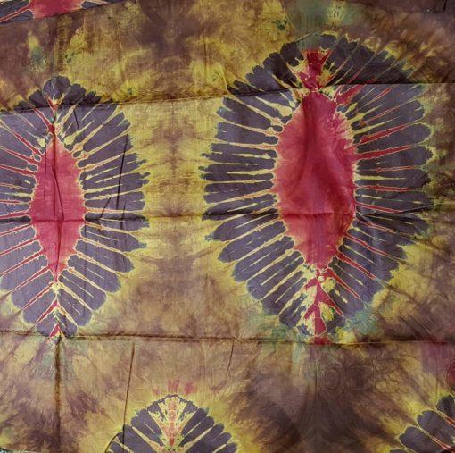 Bazin marron foncé jaune rouge