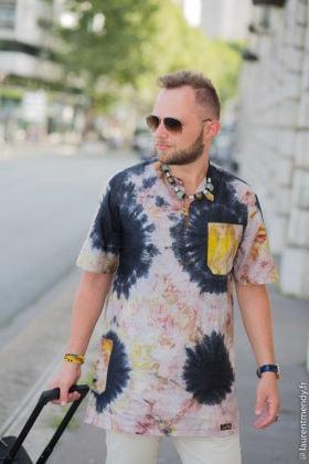 Chemise boubou homme en calicot blanc noir marron jaune