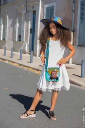 Chapeau et sac à main poupée en wax africain