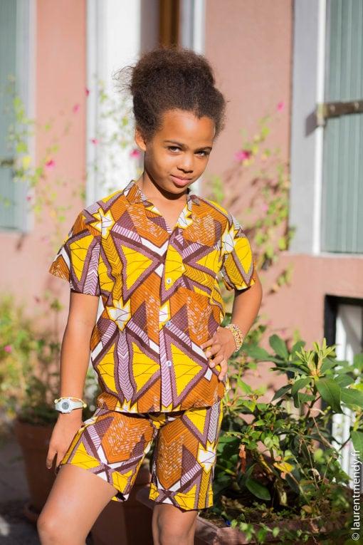 Chemise africaine et short unisexe enfant en wax