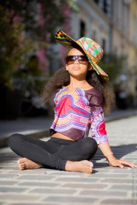 Chemise enfant à motifs dashiki et chapeau en wax