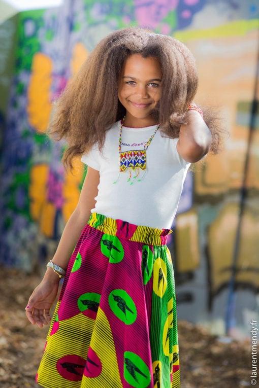 Jupe africaine enfant en pagne wax à motifs hirondelle