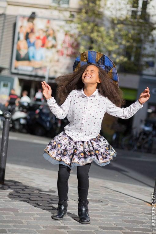 Jupe africaine enfant en wax et tulle et chapeau en wax