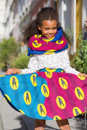 Jupe africaine enfant et snood en pagne wax