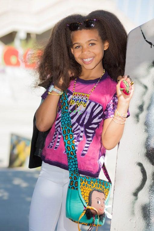 Teeshirt africain enfant en batik motifs zèbre