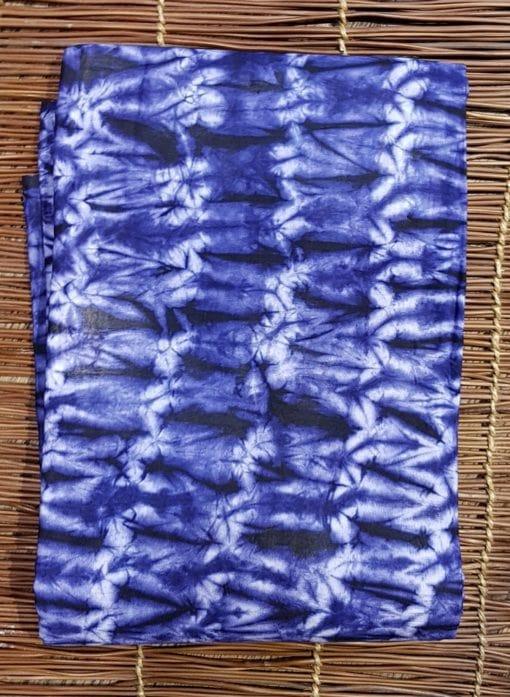 Calicot bleu blanc motif mouche