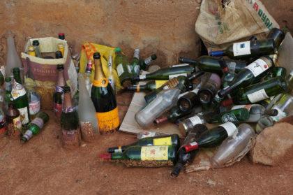 Bouteilles de verre recyclées