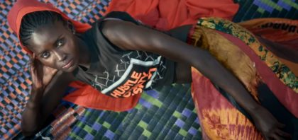 Jupe africaine en bazin teinté