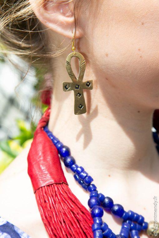 Boucles d'oreilles bronze croix d'Ankh