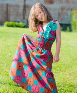 Robe fillette rosette en tissu wax