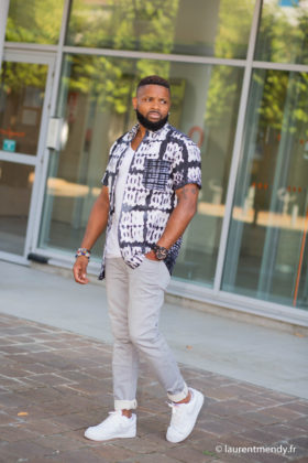 Chemise africaine homme à manches courtes en calicot teinté