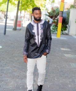 Chemise africaine homme en bazin brodé