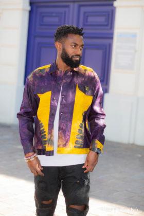 Chemise africaine homme manches longues en bazin teinté à la main
