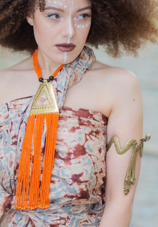 Bijoux en bronze et perles orange