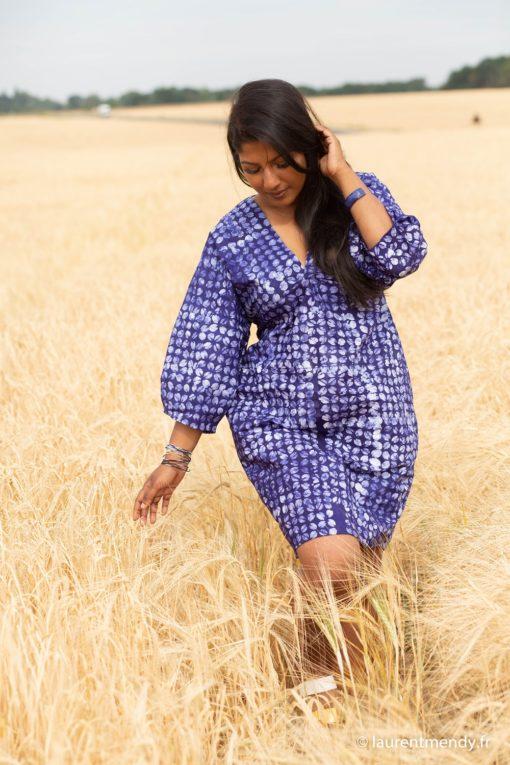 Robe en tissu africain calicot bleu