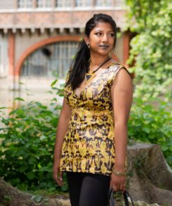 Corsage femme en tissu africain bazin noir et vert olive