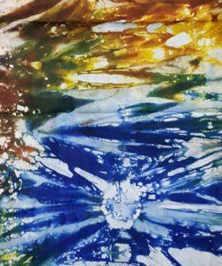 Tissu calicot blanc bleu jaune et marron