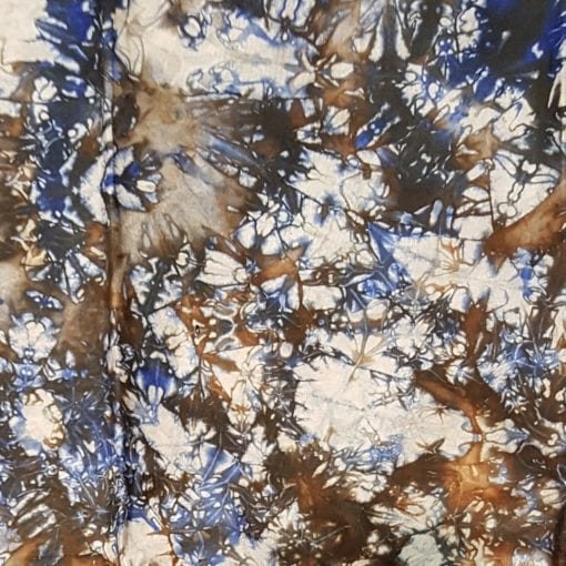 Tissu calicot blanc bleu marron brume