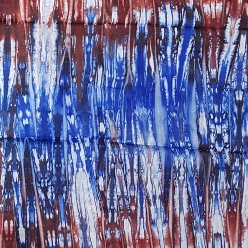 Tissu calicot blanc bleu rouge motif roots