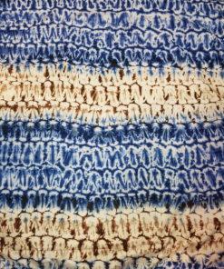 Tissu calicot blanc, bleu et marron Scarabée