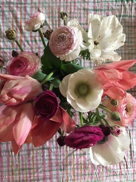 Nappe en tissu calicot rose vert blanc vichy