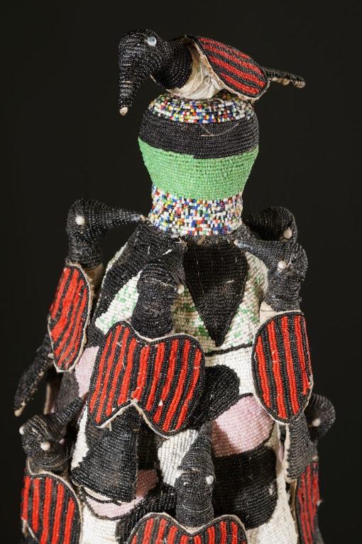 Couronne Ade en perles Yoruba du Nigéria aux oiseaux