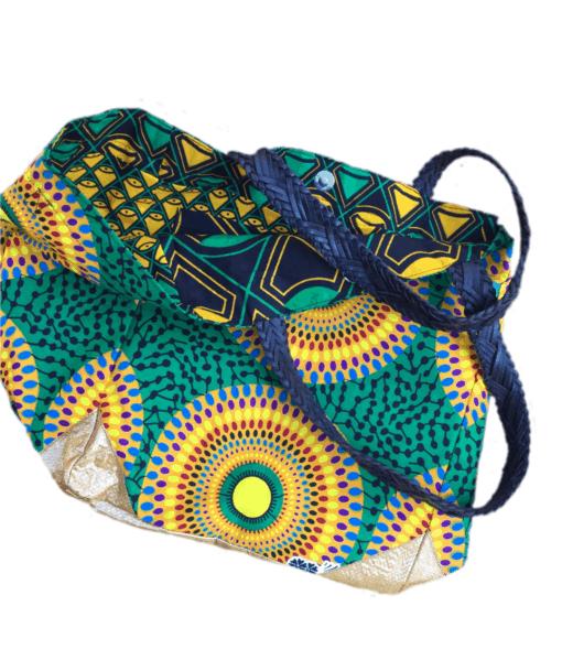 Sac en tissu africain avec anses en cuir