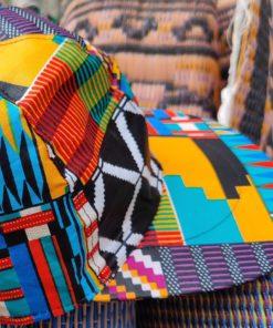 Détail casquette unisexe wax multicolore