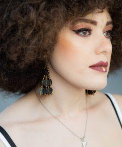 Boucles d'oreilles perles de bakélite et rocaille couleur bronze