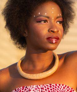 Collier cuir tressé naturel tradition du Mali