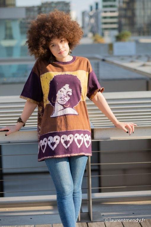 Tee shirt en batik Angela marron