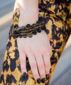 Bracelet perles de bakélite et rocaille couleur bronze